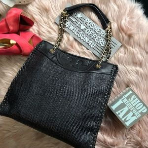 Tory Burch Black Leather & Straw Shoulder/Tote Bag